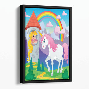 Fairy tale unicorn Floating Framed Canvas