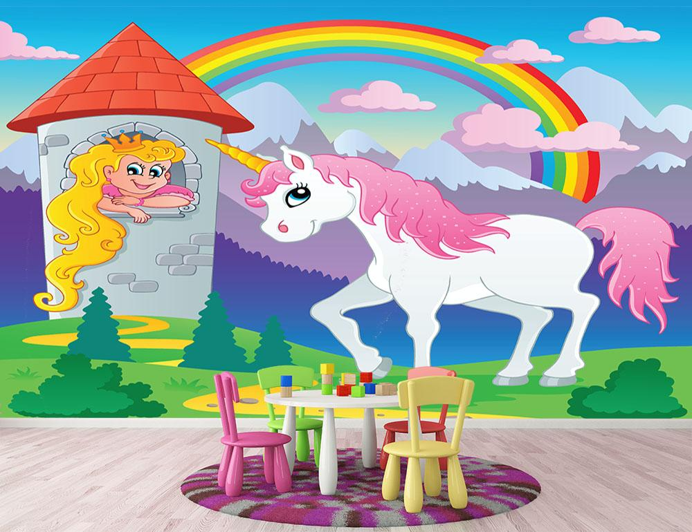 Fairy tale unicorn Wall Mural Wallpaper Canvas Art Rocks