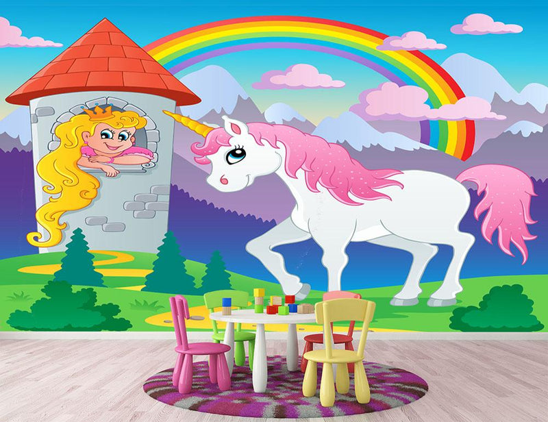 Fairy tale unicorn theme Wall Mural Wallpaper - Canvas Art Rocks - 1