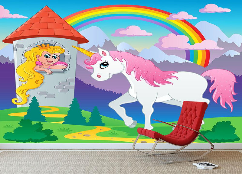 Fairy tale unicorn theme Wall Mural Wallpaper - Canvas Art Rocks - 3