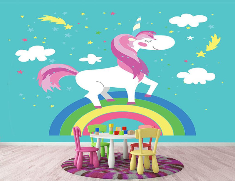 Fairy unicorn with rainbow Wall Mural Wallpaper - Canvas Art Rocks - 1