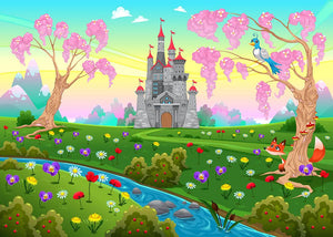 Fairytale scenery with castle Wall Mural Wallpaper - Canvas Art Rocks - 1