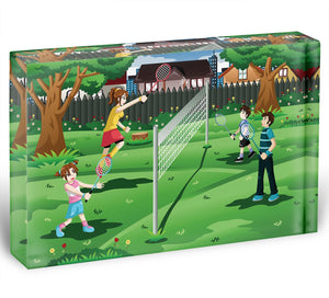 Family playing badminton in the backyard Acrylic Block - Canvas Art Rocks - 1