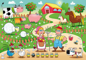 Farm Family Wall Mural Wallpaper - Canvas Art Rocks - 1