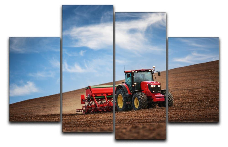 Farmer in tractor 4 Split Panel Canvas  - Canvas Art Rocks - 1