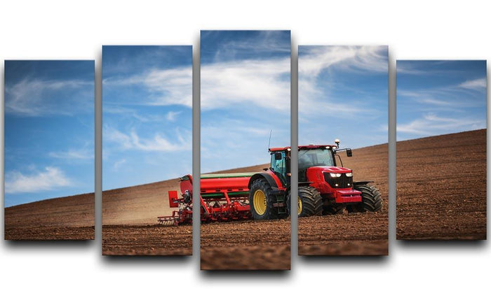 Farmer in tractor 5 Split Panel Canvas