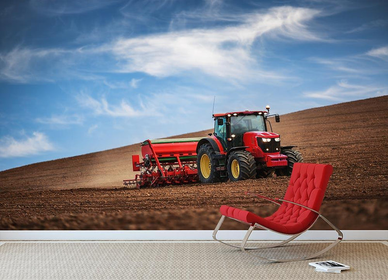 Farmer in tractor Wall Mural Wallpaper - Canvas Art Rocks - 1