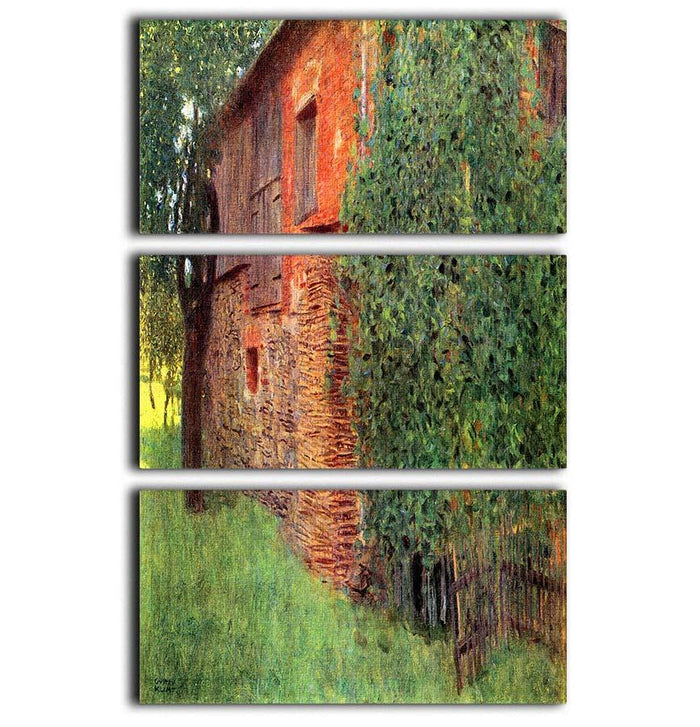 Farmhouse in Chamber in Attersee by Klimt 3 Split Panel Canvas Print