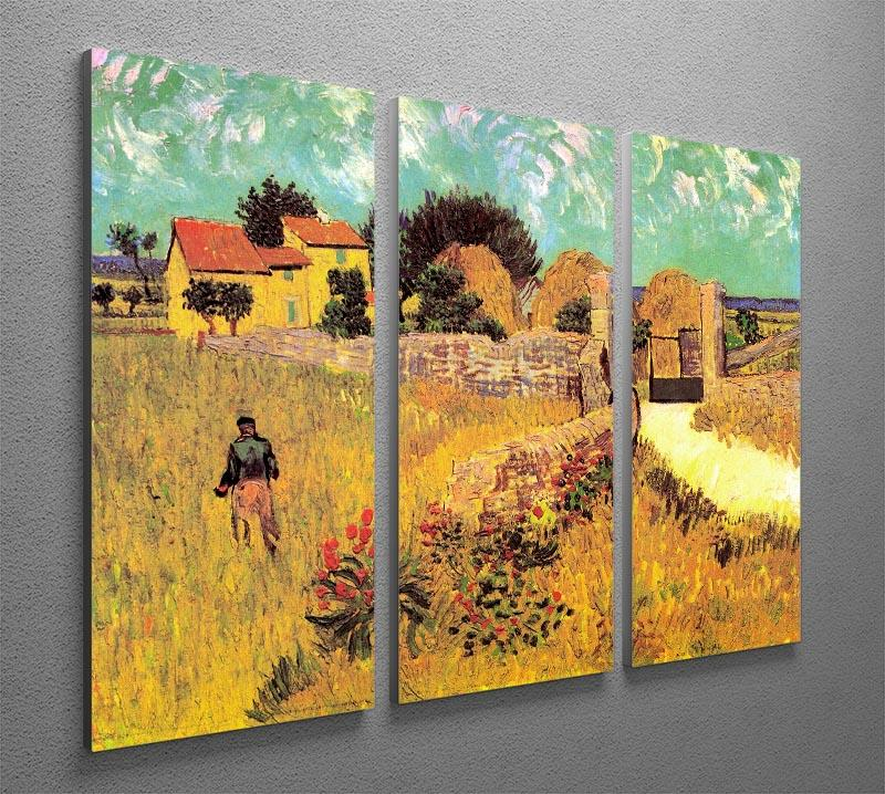 Farmhouse in Provence by Van Gogh 3 Split Panel Canvas Print - Canvas Art Rocks - 4