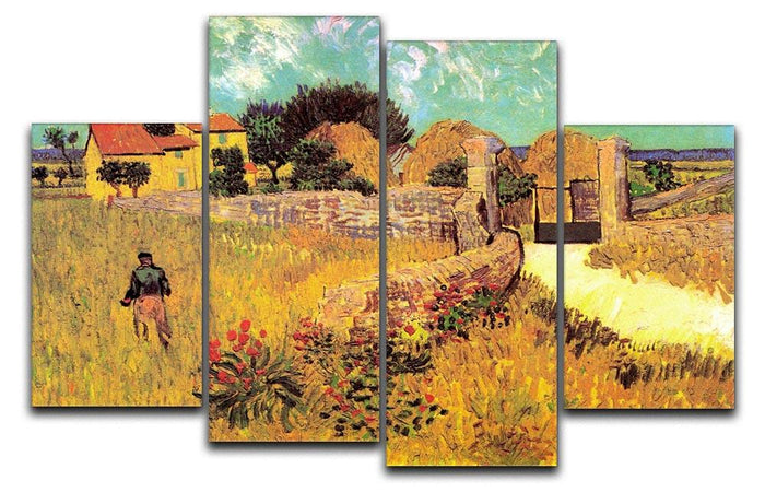 Farmhouse in Provence by Van Gogh 4 Split Panel Canvas