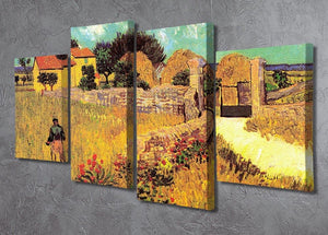 Farmhouse in Provence by Van Gogh 4 Split Panel Canvas - Canvas Art Rocks - 2
