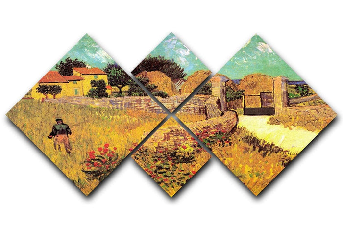 Farmhouse in Provence by Van Gogh 4 Square Multi Panel Canvas