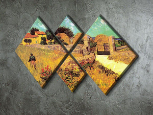 Farmhouse in Provence by Van Gogh 4 Square Multi Panel Canvas - Canvas Art Rocks - 2