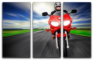 Fast Red Motorbike 3 Split Panel Canvas Print - Canvas Art Rocks - 1