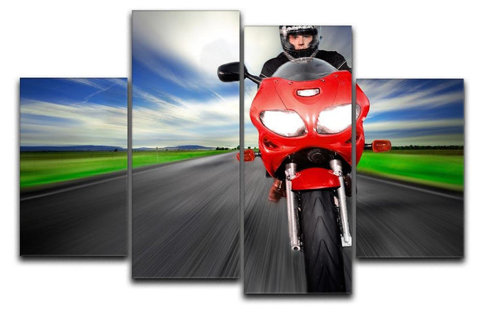 Fast Red Motorbike 4 Split Panel Canvas
