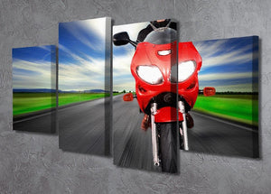 Fast Red Motorbike 4 Split Panel Canvas  - Canvas Art Rocks - 2