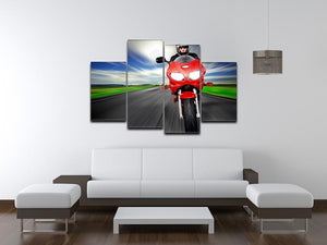 Fast Red Motorbike 4 Split Panel Canvas  - Canvas Art Rocks - 3