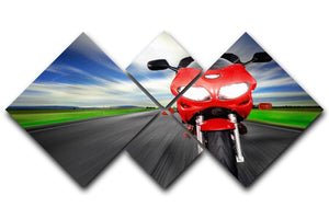 Fast Red Motorbike 4 Square Multi Panel Canvas  - Canvas Art Rocks - 1