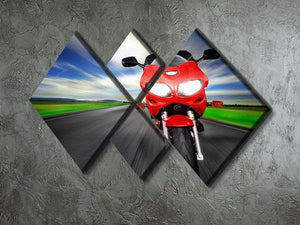 Fast Red Motorbike 4 Square Multi Panel Canvas  - Canvas Art Rocks - 2