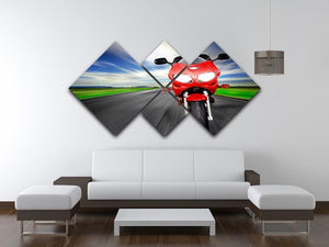 Fast Red Motorbike 4 Square Multi Panel Canvas  - Canvas Art Rocks - 3