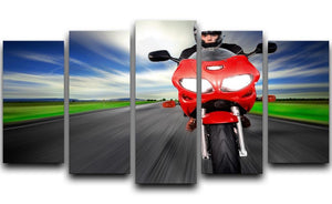 Fast Red Motorbike 5 Split Panel Canvas  - Canvas Art Rocks - 1