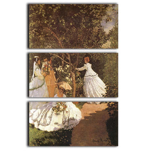 Femmes au jardin 1867 by Monet 3 Split Panel Canvas Print - Canvas Art Rocks - 1