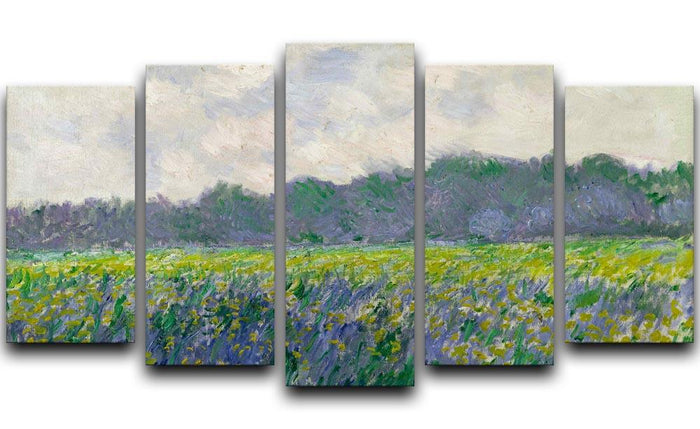 Field of Yellow Irises by Monet 5 Split Panel Canvas