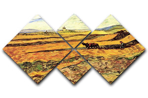 Field with Ploughman and Mill by Van Gogh 4 Square Multi Panel Canvas  - Canvas Art Rocks - 1