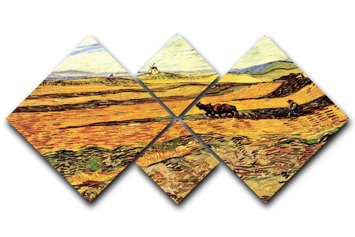 Field with Ploughman and Mill by Van Gogh 4 Square Multi Panel Canvas