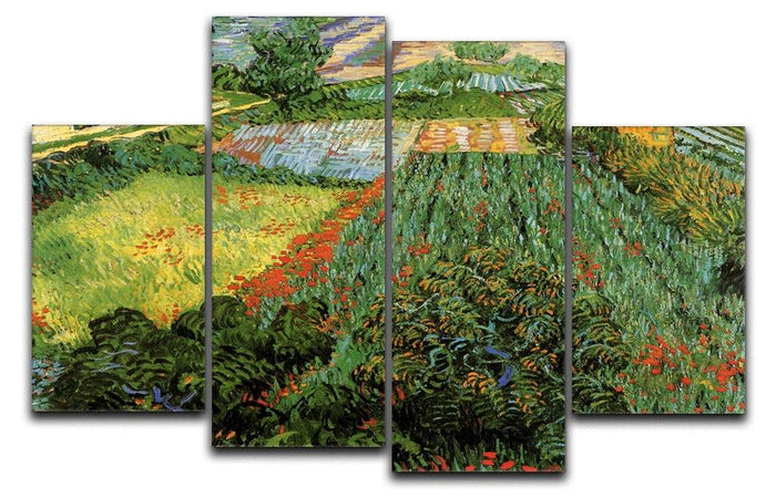 Field with Poppies by Van Gogh 4 Split Panel Canvas