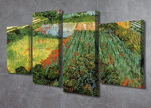 Field with Poppies by Van Gogh 4 Split Panel Canvas - Canvas Art Rocks - 2