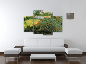 Field with Poppies by Van Gogh 4 Split Panel Canvas - Canvas Art Rocks - 3