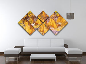 Field with Stacks of Wheat by Van Gogh 4 Square Multi Panel Canvas - Canvas Art Rocks - 3