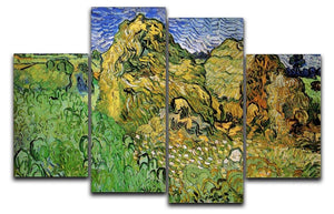 Field with Wheat Stacks by Van Gogh 4 Split Panel Canvas  - Canvas Art Rocks - 1