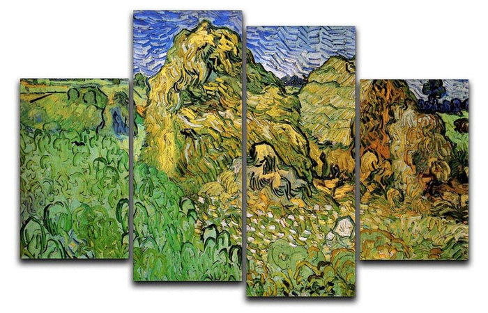 Field with Wheat Stacks by Van Gogh 4 Split Panel Canvas