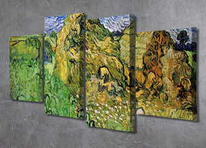 Field with Wheat Stacks by Van Gogh 4 Split Panel Canvas - Canvas Art Rocks - 2