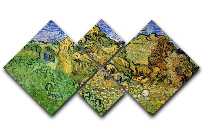 Field with Wheat Stacks by Van Gogh 4 Square Multi Panel Canvas
