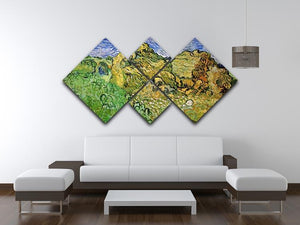 Field with Wheat Stacks by Van Gogh 4 Square Multi Panel Canvas - Canvas Art Rocks - 3