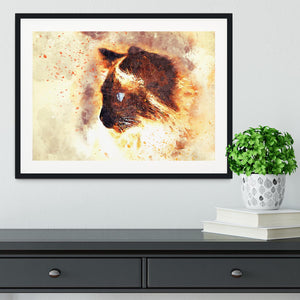 Fire Cat Painting Framed Print - Canvas Art Rocks - 1