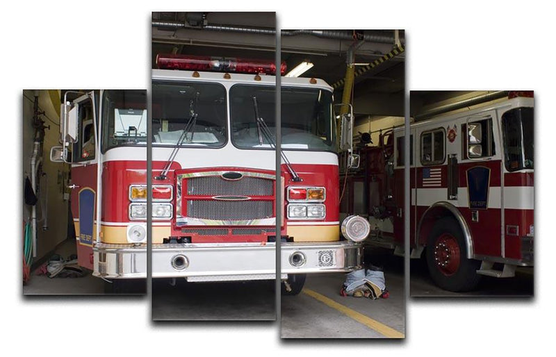 Fire Truck 4 Split Panel Canvas  - Canvas Art Rocks - 1