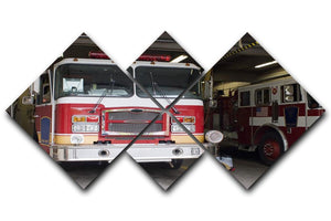 Fire Truck 4 Square Multi Panel Canvas  - Canvas Art Rocks - 1