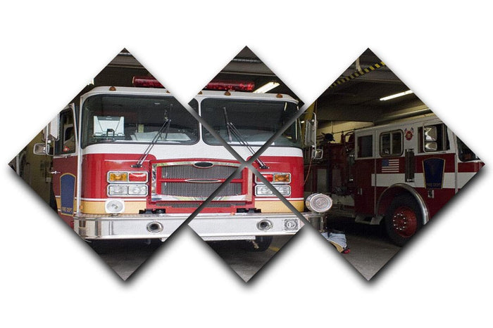 Fire Truck 4 Square Multi Panel Canvas