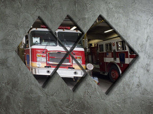 Fire Truck 4 Square Multi Panel Canvas  - Canvas Art Rocks - 2