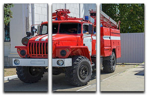 Fire Truck In The City 3 Split Panel Canvas Print - Canvas Art Rocks - 1