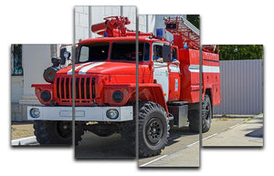 Fire Truck In The City 4 Split Panel Canvas  - Canvas Art Rocks - 1