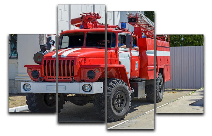 Fire Truck In The City 4 Split Panel Canvas