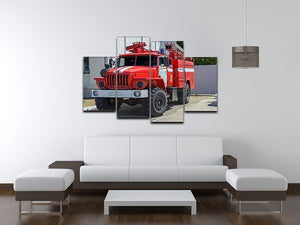 Fire Truck In The City 4 Split Panel Canvas  - Canvas Art Rocks - 3