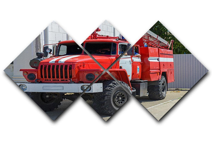 Fire Truck In The City 4 Square Multi Panel Canvas