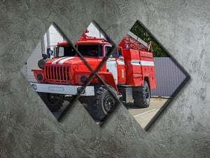 Fire Truck In The City 4 Square Multi Panel Canvas  - Canvas Art Rocks - 2