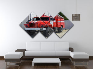 Fire Truck In The City 4 Square Multi Panel Canvas  - Canvas Art Rocks - 3